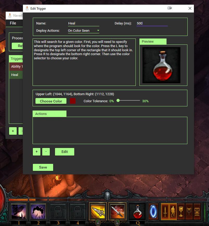 drinking potio automatically in Diablo 3